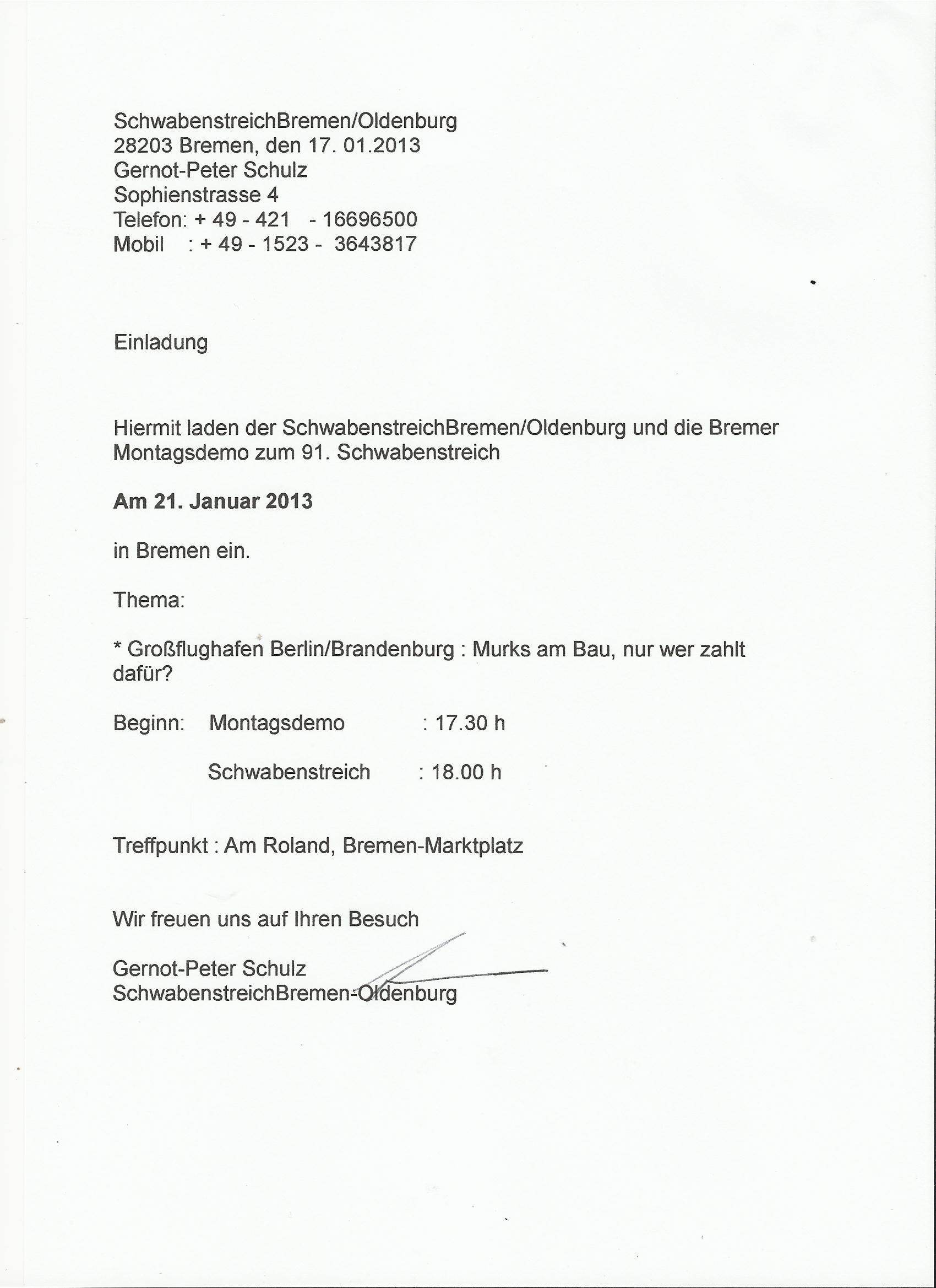 Einladung zum 91. Schwabenstreich
